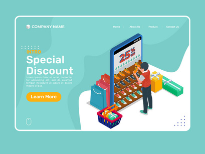 Isometric special discount illustration template