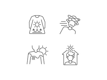 Sunstroke risk during summer linear icons set preview picture
