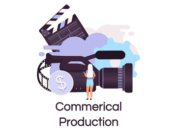 Commercial production flat concept icon preview picture