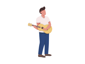 Young man with acoustic guitar semi flat color vector character preview picture