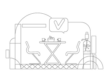 Corporate cafeteria outline vector illustration preview picture