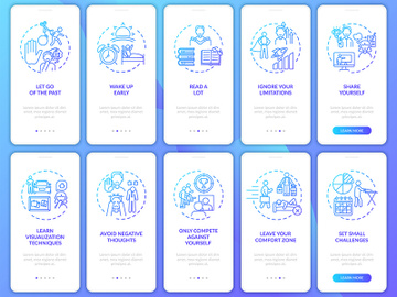 Self-development tips navy onboarding mobile app page screen with concepts set preview picture