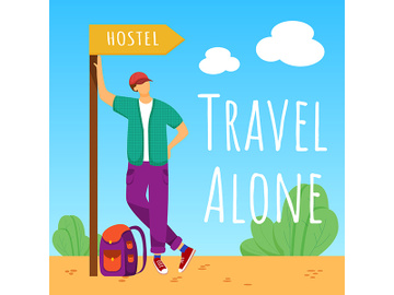 Travel alone social media post mockup preview picture
