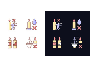 Being safe around candle light and dark theme RGB color manual label icons set preview picture