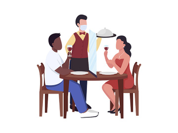 Serving restaurant guests with safety measures semi flat color vector characters preview picture