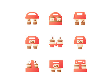 Coffee menu to go vector flat color icon set preview picture