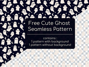 Free Cute Ghost Seamless Pattern preview picture