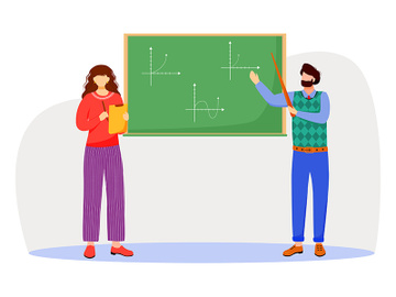 Teacher explains math graphs on chalkboard flat vector illustration preview picture