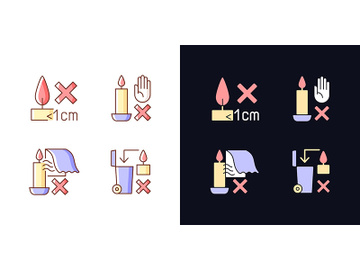 Safety label for candles light and dark theme RGB color manual label icons set preview picture