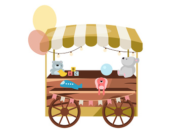 Street market wooden cart with toys flat vector illustration preview picture