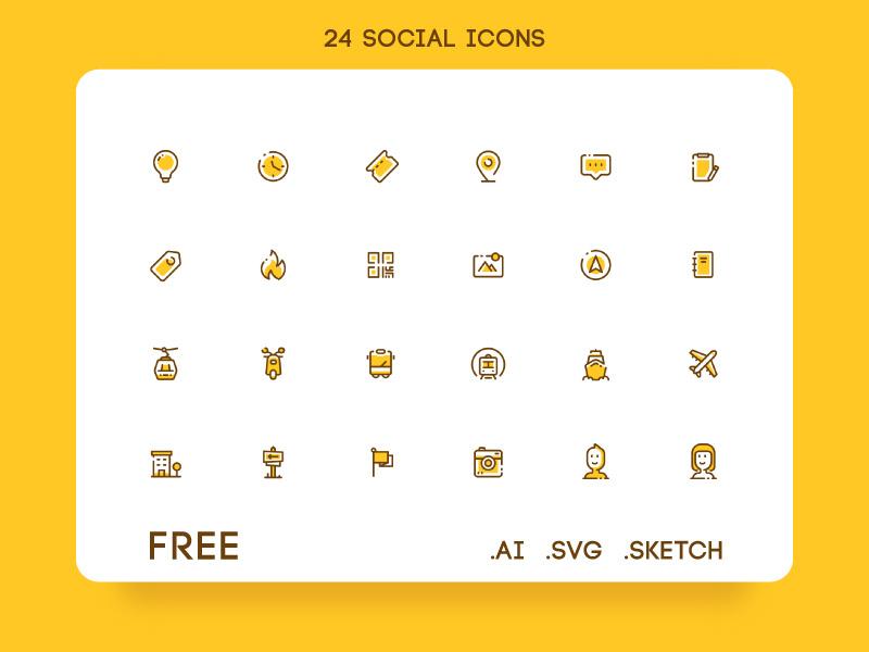 24 Free Social Icon Set