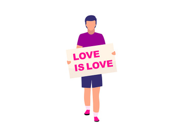 Man with love is love placard semi flat color vector character preview picture