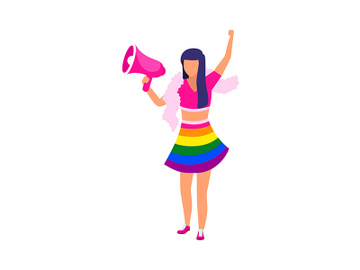 Girl with loudspeaker wearing rainbow outfit semi flat color vector character preview picture