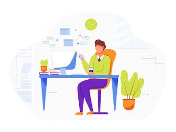 Office worker flat vector illustration preview picture