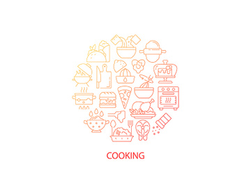 Food cooking abstract gradient linear concept layout with headline preview picture
