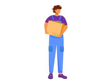 Post office male worker flat color vector illustration preview picture