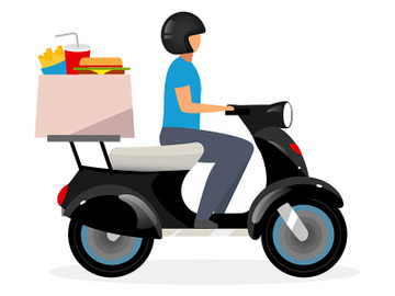 Fast food delivery service flat vector illustration preview picture