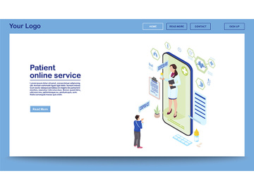 Patient support online service isometric homepage template preview picture