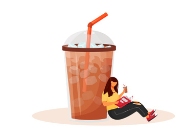 Iced americano flat concept vector illustration preview picture