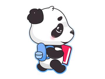 Cute panda back to school kawaii cartoon vector character preview picture