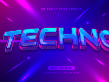 Techno editable text effect style vector preview picture