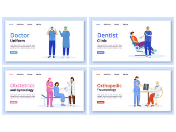 Medicine and healthcare landing page vector templates set preview picture