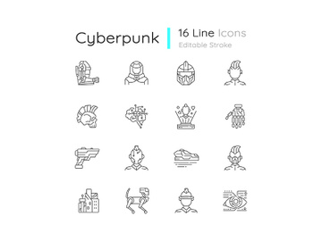 Cyberpunk linear icons set preview picture
