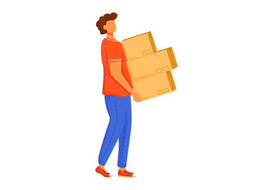 Post office male worker loader flat color vector illustration preview picture