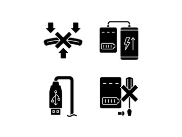 Powerbank proper use black glyph manual label icons set on white space preview picture