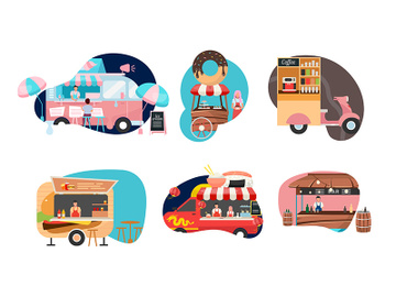 Street food festival flat vector illustrations set preview picture