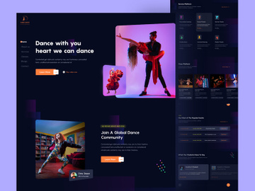 Dance Academy Dark Landing Page Template preview picture