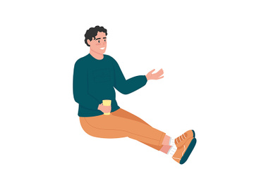 Man relaxing with drink semi flat color vector character preview picture