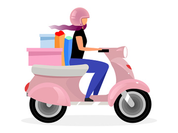 Girl driving scooter flat vector illustration preview picture