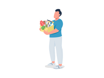 Guy with cleaning supplies semi flat color vector character preview picture