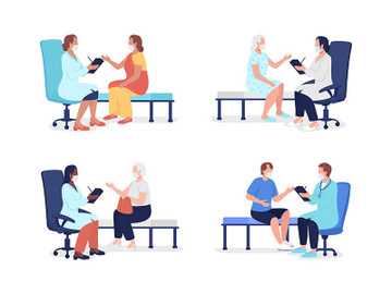Doctor appointment semi flat color vector characters set preview picture