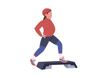Woman exercising in winter semi flat color vector character preview picture