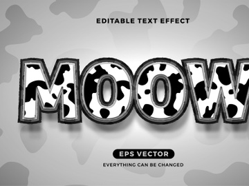 Cow editable text effect vector template preview picture
