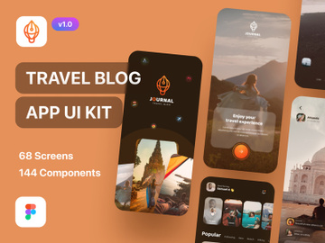 Journal - Travel Blog App UI Kit Dark Mode preview picture
