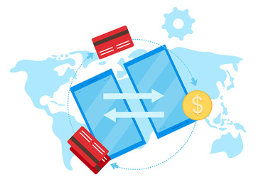 Global payment system flat vector illustration preview picture