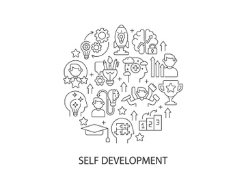 Self development abstract linear concept layout with headline preview picture