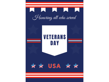 American Veterans Day poster flat vector template preview picture