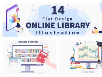 14 Online Library Digital Education Illustration preview picture