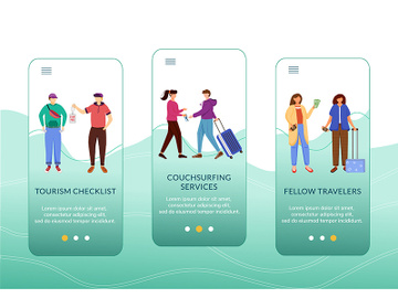 Budget tourism onboarding mobile app screen vector template preview picture