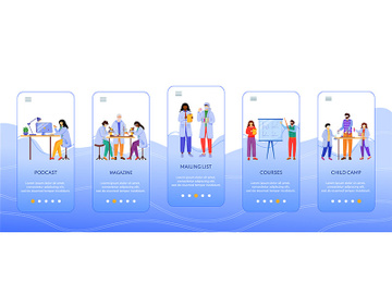 Science services onboarding mobile app screen vector template preview picture