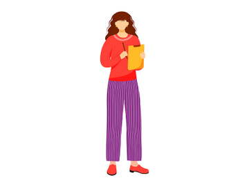 Girl with clipboard and pen flat vector illustration preview picture