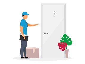 Door-to-door delivery flat vector illustration preview picture
