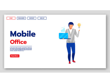 Mobile office landing page vector template preview picture