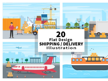 20 Delivery Container Truck or Plane Transportation preview picture