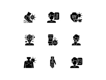 Sunstroke prevention black glyph icons set on white space preview picture