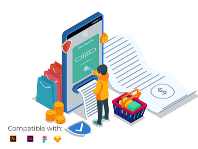 Isometric secure payment illustration with mobile phone